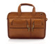 "Muiska Oslo - 17"" Leather Professional Computer Briefcase - Front View 2, Saddle"