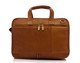 "Muiska Oslo - 17"" Leather Professional Computer Briefcase - Back View, Saddle"