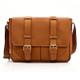 Muiska Dublin - Leather Laptop Messenger Bag - Front View 2, Saddle