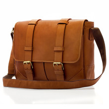 Muiska Dublin - Leather Laptop Messenger Bag - Front View, Saddle