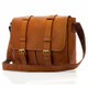 Muiska Dublin - Leather Laptop Messenger Bag - Front View, Saddle