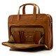 """Muiska Lisbon - 17"""" Leather Computer Briefcase - Front Open View, Saddle"""