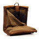 Muiska Havana - Leather Carry All Garment Bag - Side Open View, Saddle