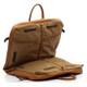 Muiska Rome - Leather Lightweight Garment Bag - Side Open View, Saddle