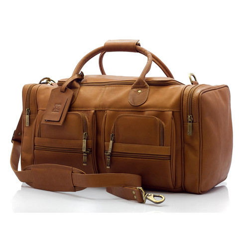 Muiska New York - 22in Leather Duffel Bag - Front View, Saddle