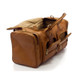 Muiska New York - 22in Leather Duffel Bag - Side Open View, Saddle