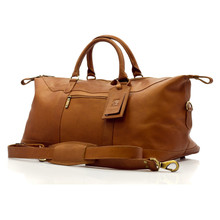 Muiska Madrid - 27in Leather Duffel Bag - Front View, Saddle