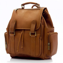 Muiska Refael - Leather Laptop Backpack - Front View, Saddle
