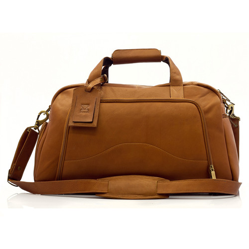 Muiska Luis - Leather Carry On Weekender Duffle - Front View, Saddle