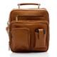 Muiska Carlos - Large Leather Mans Bag - Front View 2, Saddle