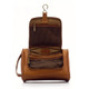 Muiska Mateo - Leather Travel Dop Kit - Front Open View, Saddle