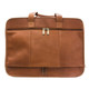 Muiska Sydney - Colombian Leather Triple Compartment Briefcase Organizer - Back View with Double Zippers, Saddle