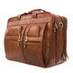 Muiska Sydney - Colombian Leather Triple Compartment Briefcase Organizer - Front Side View, Saddle