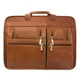 Muiska Sydney - Colombian Leather Triple Compartment Briefcase Organizer - Front View, Saddle