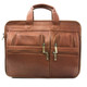 Muiska Madrid - Colombian Leather Triple Compartment Briefcase Satchel - Front View, Saddle