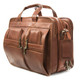 Muiska Madrid - Colombian Leather Triple Compartment Briefcase Satchel - Front Side View, Saddle