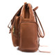 Musika Brooklyn - Colombian Leather Laptop Drawstring Backpack - Side Pocket View, Saddle