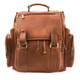 Musika Brooklyn - Colombian Leather Laptop Drawstring Backpack - Front View, Saddle
