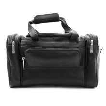 Muiska Marco - Colombian Leather Petite Sport Duffel Travel Bag - Front View, Black