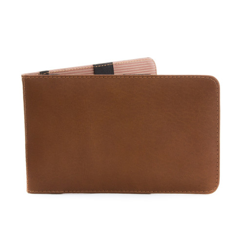 Musika Gino - Colombian Leather Golf Performance Scorecard Holder - Front View, Saddle