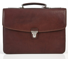 "Bella Russo 17"" Laptop Double Compartment Brown Brief - Front View"