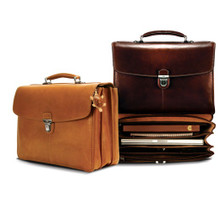 Tony Perotti Mens Italian Cow Leather Bella Russo Triple Compartment Leather Laptop Briefcase