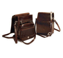 Tony Perotti Unisex Italian Bull Leather Vertical Flap-Over Shoulder Carry All Bag