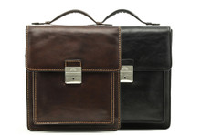 Treviso Vertical Flap-Over Carry All Bag | Color Black and Brown