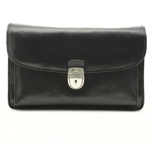 Veneto Horizontal Flap-Over Carry All Bag PI212001 Black Front