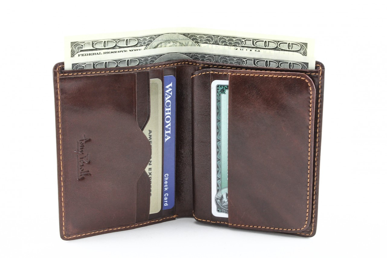 Tony Perotti Mens Italian Bull Leather Express Front Pocket Vertical  Trifold Credit Card Wallet with ID Window