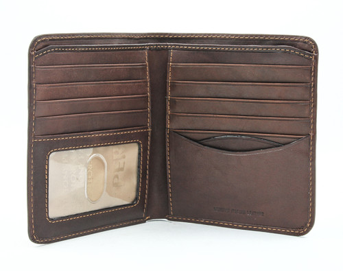PRIMA HIPSTER WALLET WITH I.D. WINDOW | Brown | Open