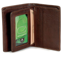 Tony Perotti Mens Italian Cow Leather Front Pocket Vertical Trifold Wallet with ID Window