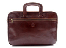 Genoa - Zip Around Document Case Brown Front 2