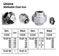 IMPA 730705 Malleable cast iron union No  340 galvanised, 3