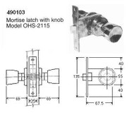 IMPA 490103 MORTISE LATCH COMPLETE WITH KNOB   OHS-2115