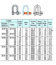 IMPA 230160 SCREW PIN D-SHACKLE GALV. 28x28x56mm  (3,0 ton)