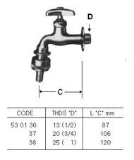 "IMPA 530136 SERVICE TAP CHROME BSP 1/2"" WITH HOSE COUPLING"