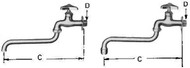 "IMPA 530171 WALL FAUCET COLD WATERLINE 1/2""-200 MM S UNDER SWIVEL SPOUT"