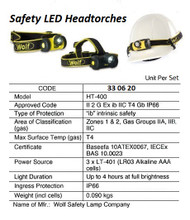 IMPA 330620 Wolf HT-400, Intrinsic Safe LED headlamp zone 1 & 2, ATEX approved, inc. 3 AAA batteries Wolf