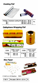 IMPA 174206 WRAPPING FOIL-HOUSEHOLD CELLOPHANE 300mm x 20mtr.