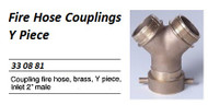 """IMPA 330881 Y PIECE BRASS INLET R 2"""" FEMALE OUTLET 2"""" MALE"""