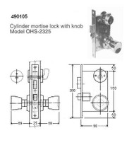 IMPA 490105 CYLINDER MORTISE LOCK WITH KNOB   OHS-2325