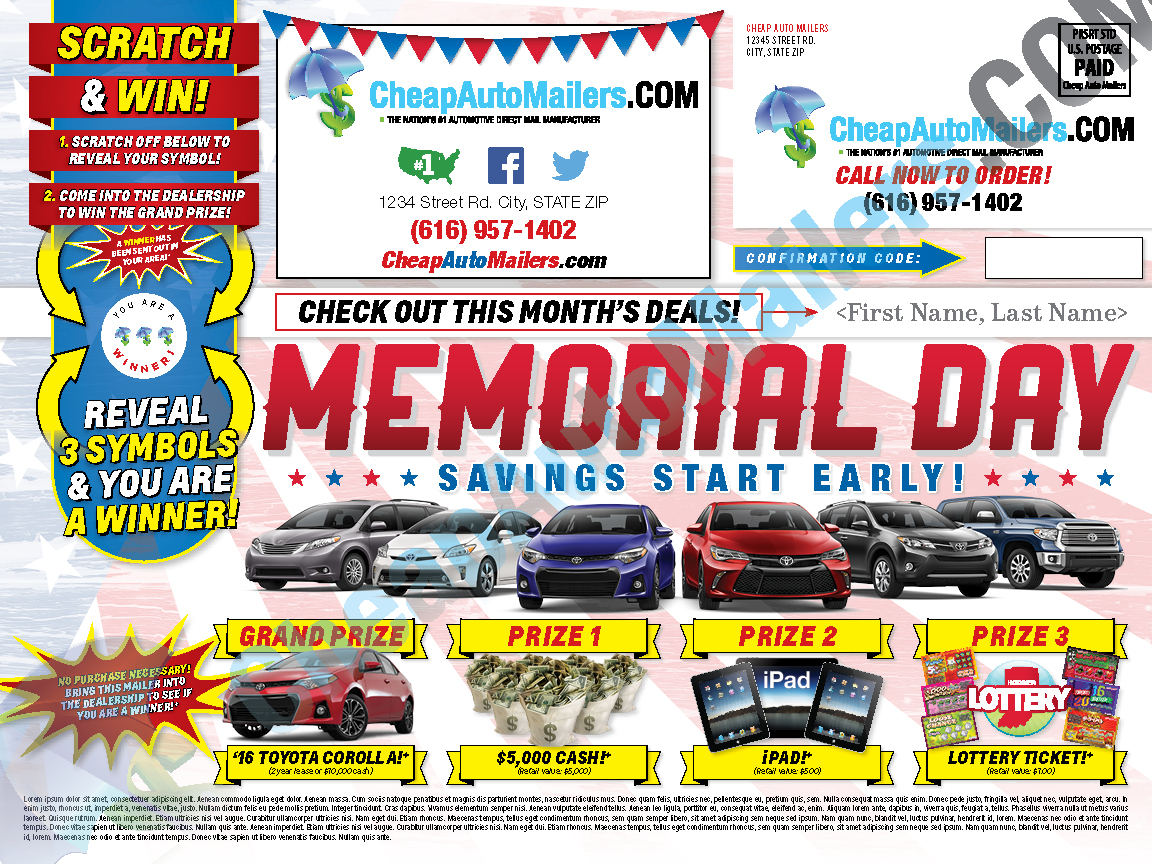 Automotive Direct Mail >> Memorial Day Direct Mail Popular Mailers