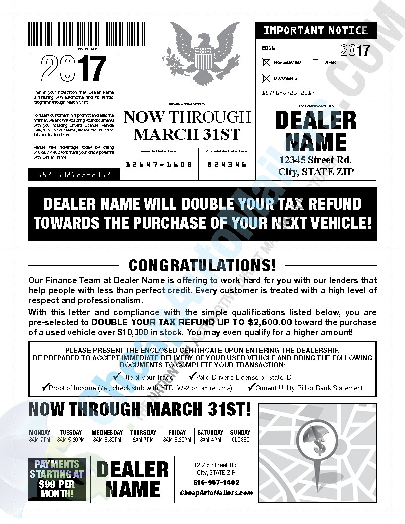 Tax Refund Snap Pack Automotive Mailer