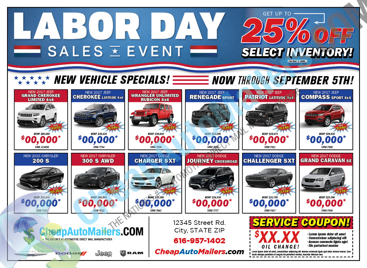 Automotive Direct Mail >> Labor Day Sales Event Automotive Mailer