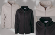 LADIES' FULL ZIP JACKET 100% polyester full zip ladies' jacket. Zip thru collar, welt pockets with hemmed bottom and sleeves.