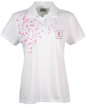 Made in USA | Breast Cancer Awareness Polo (PTM) | 5.0 oz, 100% Moisture Wicking Polyester   Proudly Made in USA