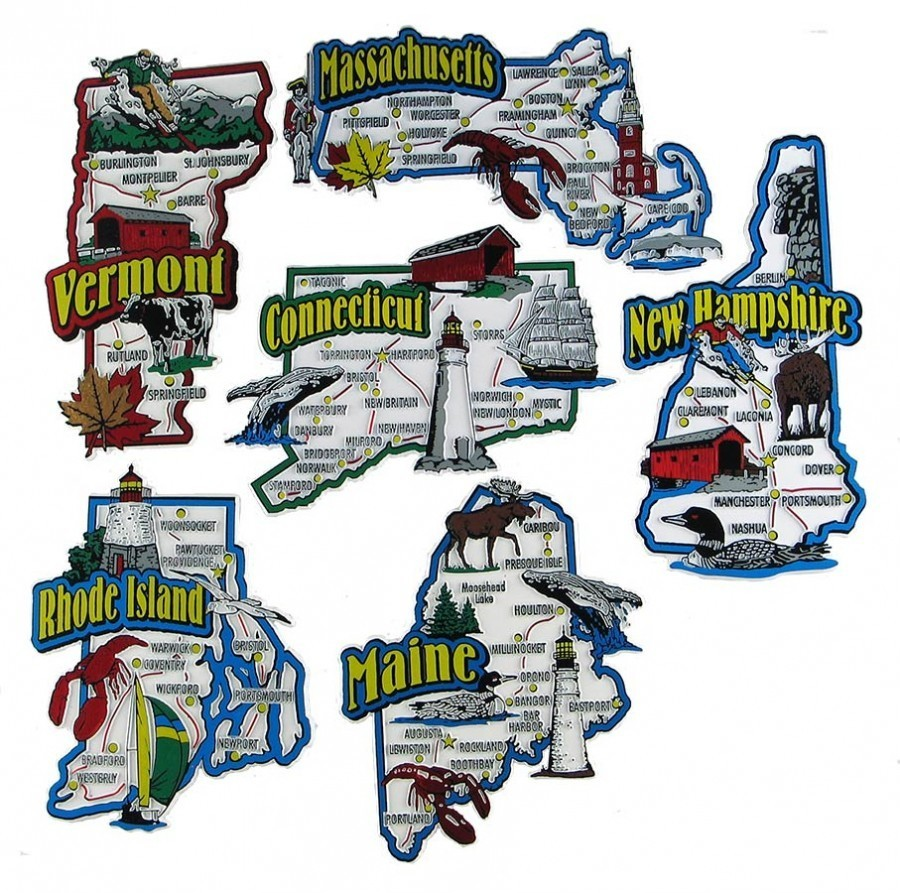 Rubber State Souvenir Magnets Connecticut Massachusetts Maine New Hampshire Rhode Island Vermont