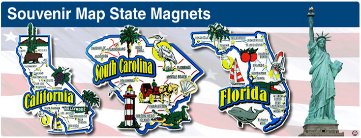 Souvenir Map State Magnets