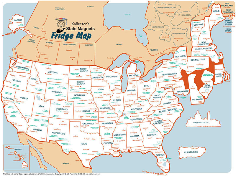 State Magnet Collectors Map Static Cling USA Fridge Map